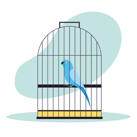 pet shop bird on cage vector illustration Imagens - 127275474