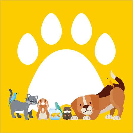 dog cat rabbit hamster paw vector illustration