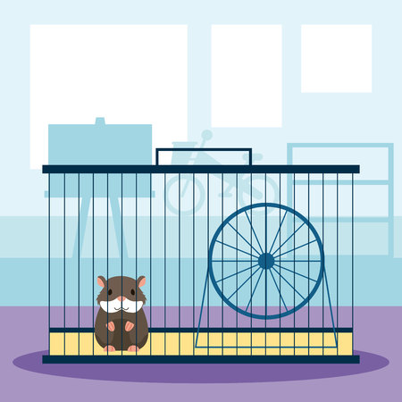 pet shop hamster on cage with wheel vector illustration Illustration