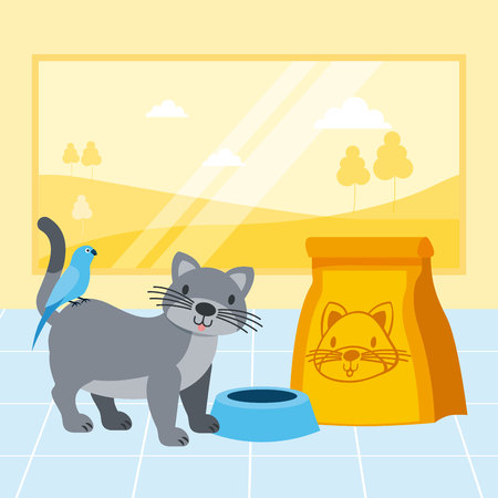 cat and bird package food bowl pet shop vector illustration