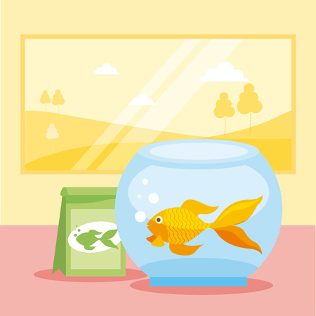 goldfish bowl food bag pet shop vector illustration Illustration