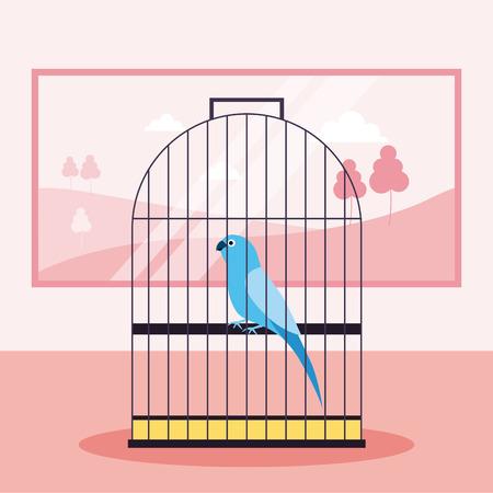 pet shop bird on cage vector illustration