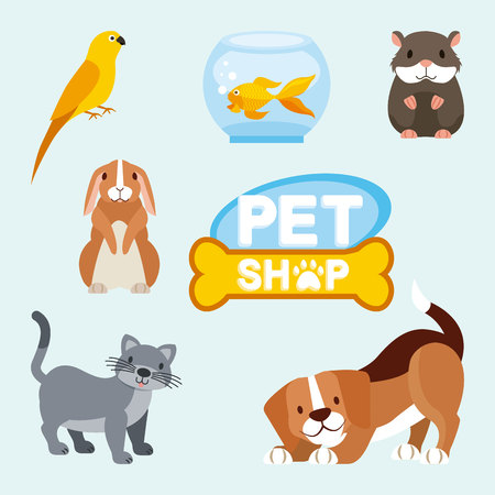 pet shop and veterinary dog cat hamster rabbit fish vector illustration