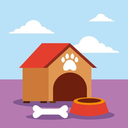 pet shop house bowl and bone vector illustration Illusztráció