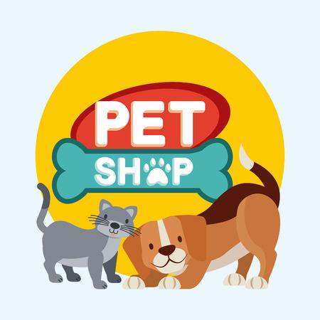 beagle dog and cat pet shop vector illustration