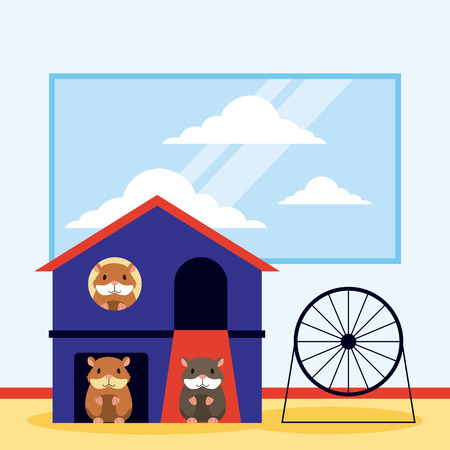 cute hamster house wheel pet shop vector illustration Standard-Bild - 112788751