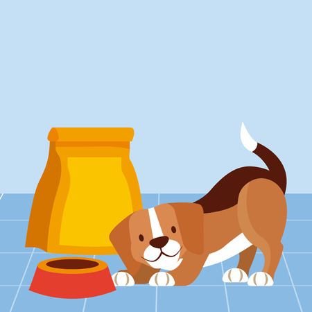 dog beagle and food bowl pet vector illustration