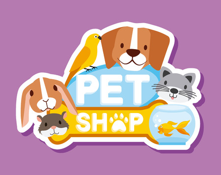 pet shop and veterinary dog cat hamster rabbit fish vector illustration