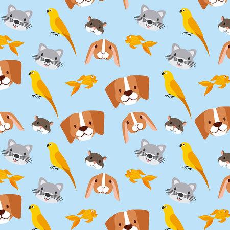pet and veterinary rabbit dog cat bird fish background vector illustration Illustration