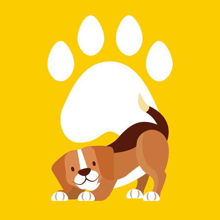 beagle dog pet paw animal vector illustration Иллюстрация