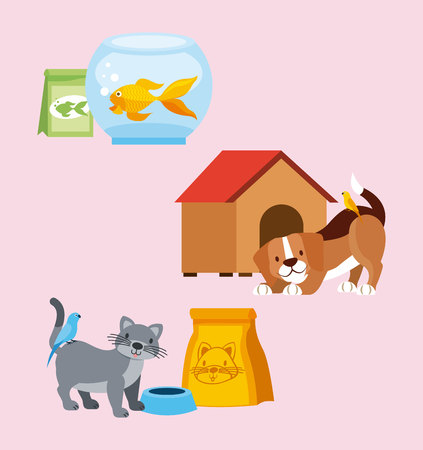 pet shop dog cat bird goldfish food house vector illustration