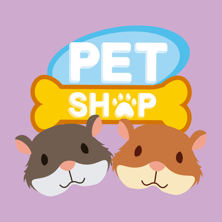 pet and shop hamsters bone poster vector illustration Ilustração