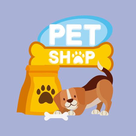 Ilustración de vector de cartel de comida de hueso de perro beagle de tienda y mascota
