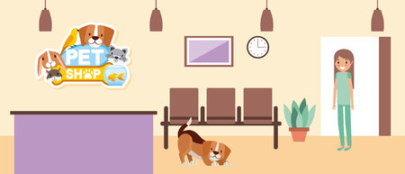 veterinary nurse and dog with cage clinic pet vector illustration