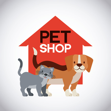 pet and veterinary dog and cat emblem vector illustration