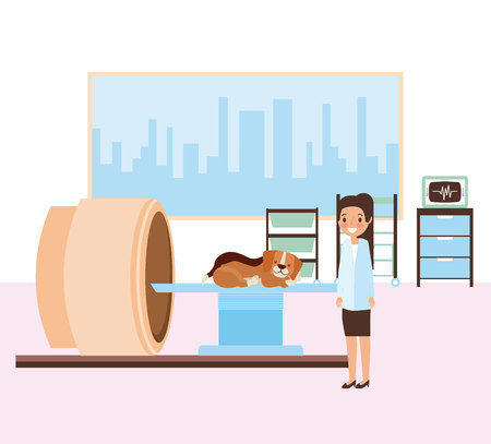female doctor and dog scanning machine veterinary clinic vector illustration Stock Illustratie