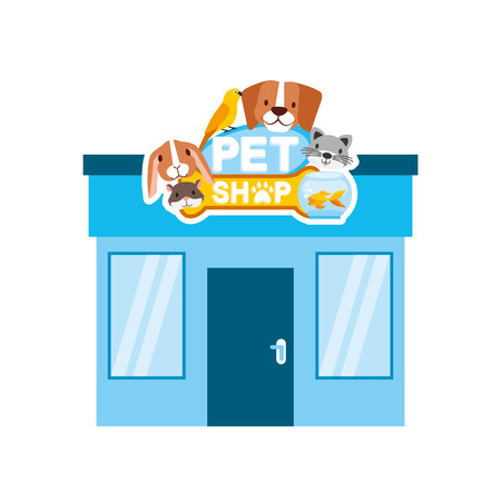 pet shop and veterinary exterior cartoon vector illustration Illustration