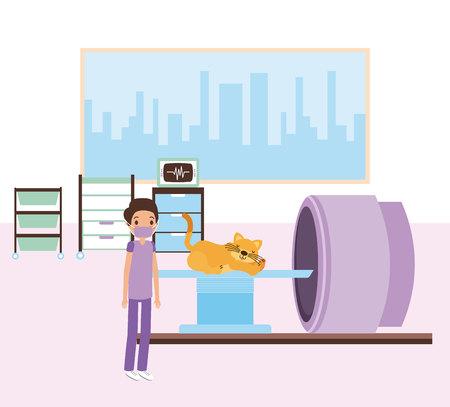 doctor and cat scanning machine veterinary vector illustration Illustration