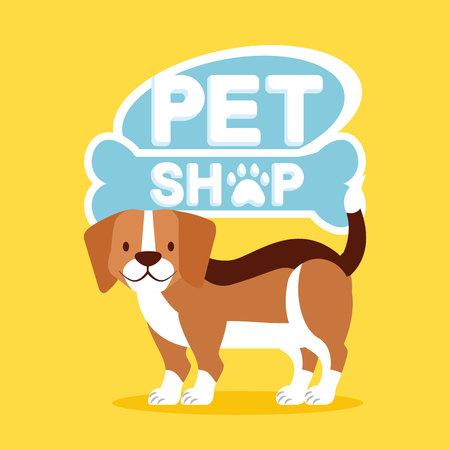 beagle dog pet shop emblem vector illustration