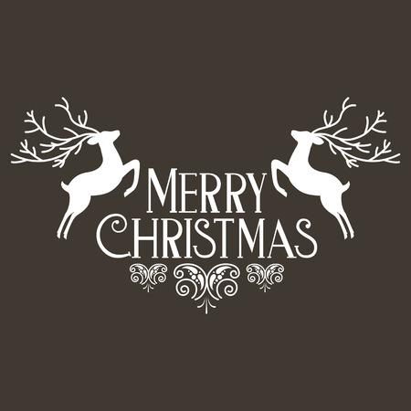deers lettering merry christmas decoration celebration vector illustration
