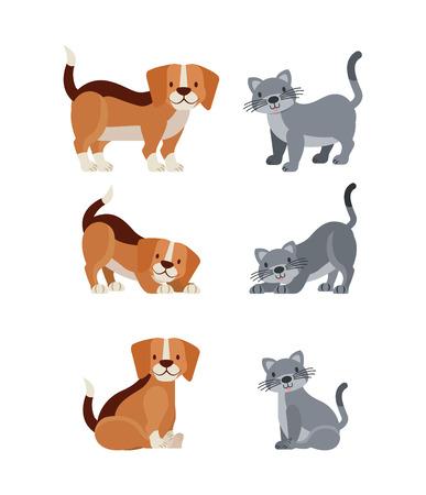 Ilustración de vector de mascota y perro veterinario y gato