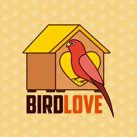 red parrot with wooden house pet vector illustration Иллюстрация