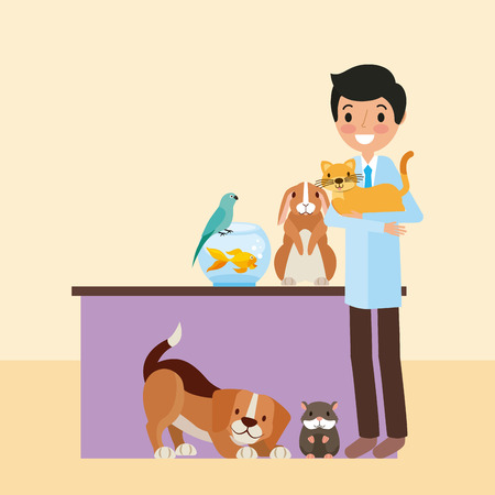 veterinary doctor with aminals clinic pet vector illustration