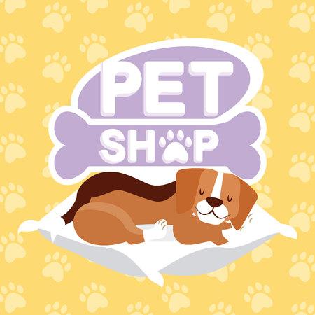 beagle dog sleeping on cushion pet shop vector illustration
