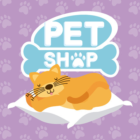 domestic cat sleeping on the cushion pet shop vector illustration