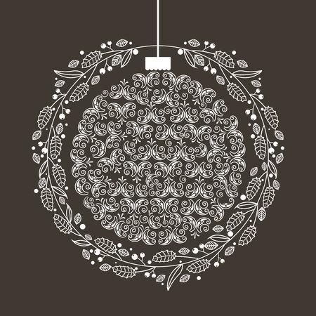 krans bal vrolijk kerstfeest decoratie vectorillustratie