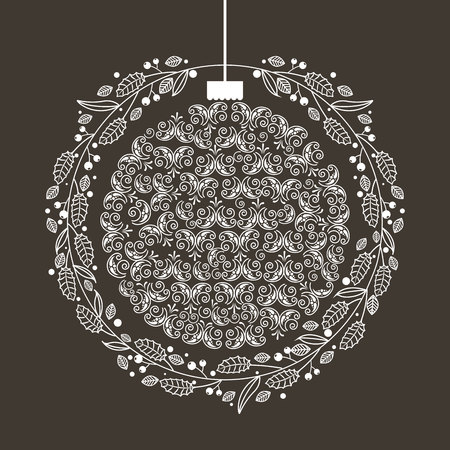 wreath ball merry christmas decoration vector illustration