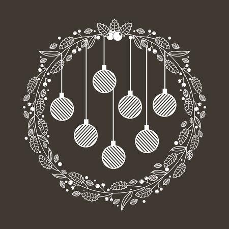 wreath balls merry christmas decoration vector illustration Vektoros illusztráció