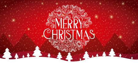 ball winter landscape red background merry christmas vector illustration Vetores