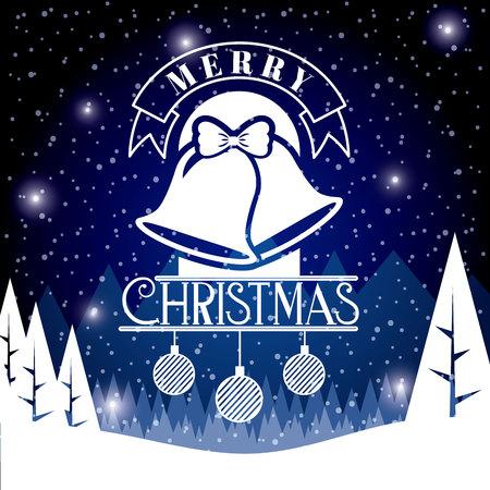 bells balls stars landscape snow merry christmas vector illustration
