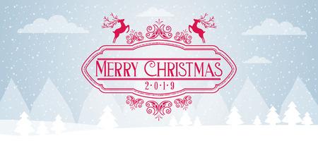 landschaft hirsche schnee frohe weihnachten vektorillustration Vektorgrafik