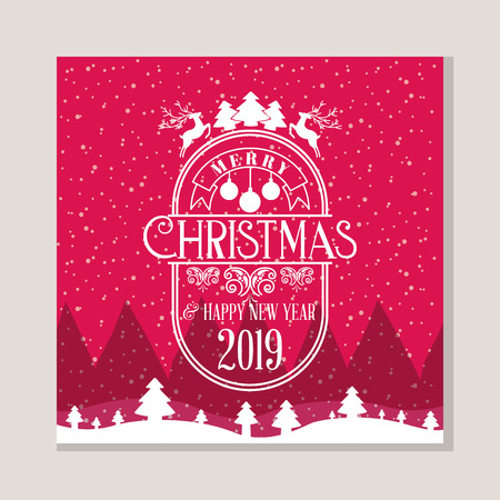 landscape snow tree merry christmas new year vector illustration Illustration