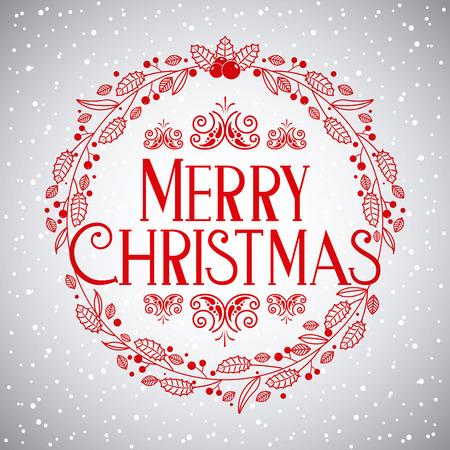 landscape snow tree merry christmas new year vector illustration Ilustração