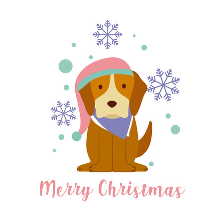 dogs with winter hat merry christmas card vector illustration