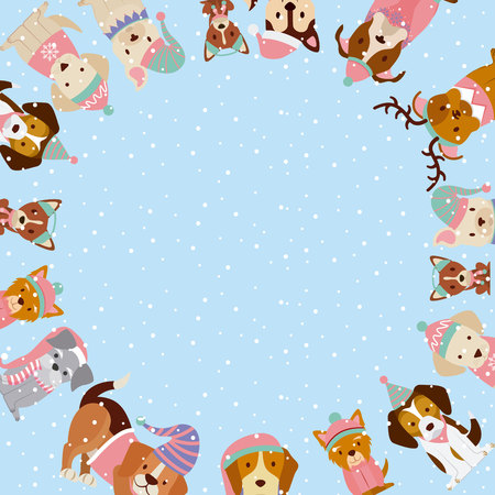 dogs with winter clothes merry christmas vector illustration Illustration