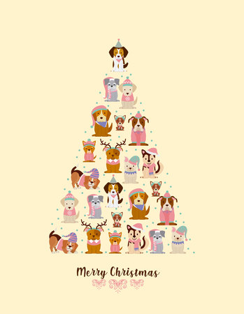 happy christmas dogs a tree shape vector illustration Illustration