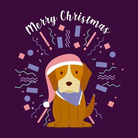 dog merry christmas party celebration confetti vector illustration