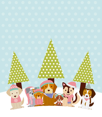 dogs with winter hat and trees merry christmas vector illustration Illustration