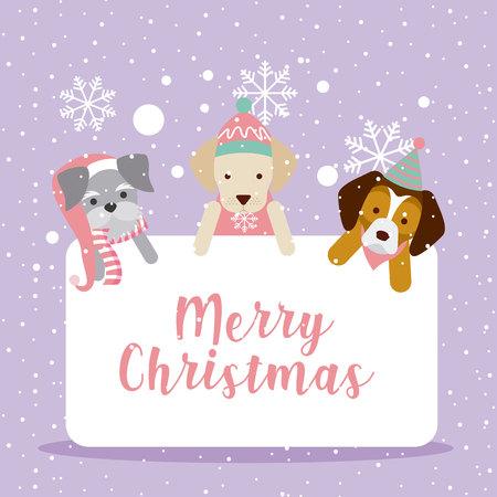 dogs merry christmas postcard celebration vector illustration