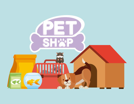 dog hamster and cat on cage food house pet shop vector illustration Stock Illustratie
