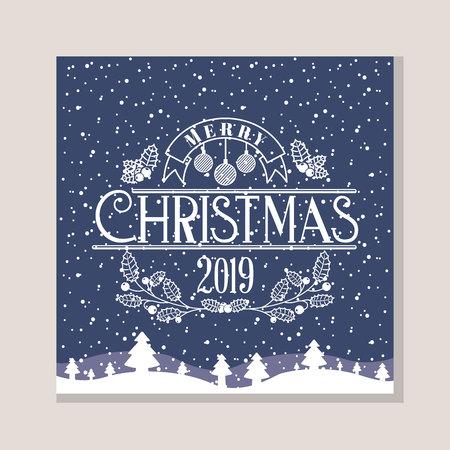 winter landscape snow tree merry christmas vector illustration