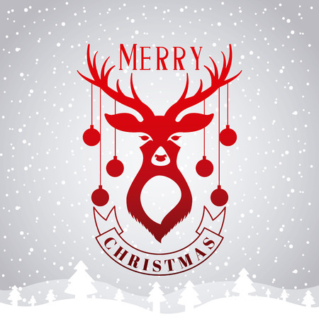 deer landscape snow tree merry christmas vector illustration