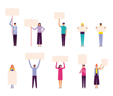 happy people holding banners outdoor vector illustration