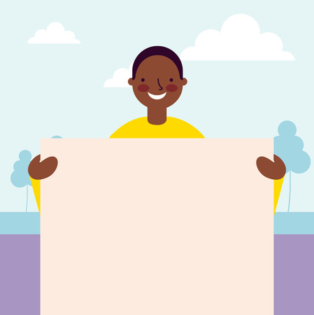 happy afroamerican boy holding banner vector illustration