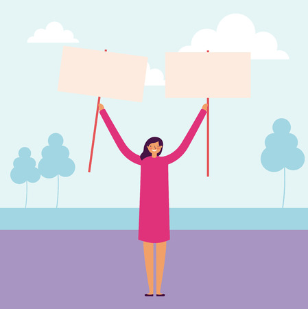 happy woman holding banners park vector illustration Stock Vector - 112789170