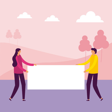 woman and man smiling holding banner park vector illustration